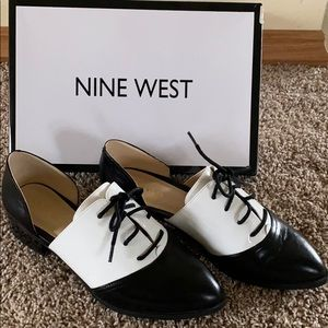 Nine West Womens Nevie Leather Tie Oxford Shoes
